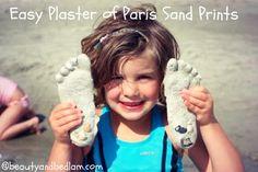 Playa manualidades, Yeso de París arena posters, Beach Arte y artesanía Impresión del pie