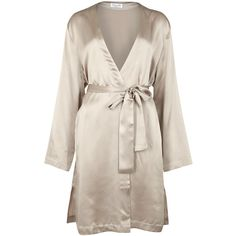 Luna di Seta Basic Seduction Champagne silk kimono ($245) ❤ liked on Polyvore featuring intimates, robes, silk kimono, kimono robe, silk kimono robe and silk robe