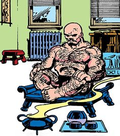 Puck (Alpha Flight) (Marvel Comics) (Eugene Judd) meditating. Fromhttp://www.writeups.org/puck-alpha-flight-marvel-comics-judd/