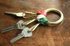 BEAU DESSIN S.A.(ボーデッサン)レザー×真鍮 3連キーホルダー  beau dessin s.a. leather keyholder/key ring