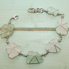 Beach Shack Project - surgical stainless steel wire wrapped sea glass bracelet. £16