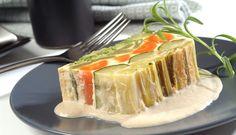 Pastel de verduras con salsa de champiñones