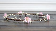 Flower Crown Halo Pink Bridal Flower Crown by myfashioncreations