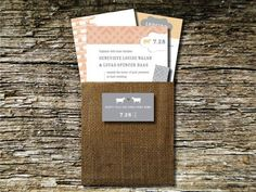 19 Barn Wedding Invitations - Burlap Pouch
