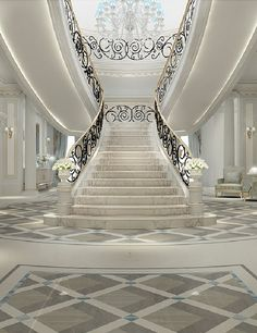Luxurious Grand Staircase Design Ideas For Amazing Home 45 Luxury Staircase, Grand Staircase, Staircase Design, Grand Foyer, Interior Design Dubai, Interior Design Companies, Grande Cage D'escalier, Building Design, My Dream Home