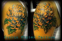 Spider Chrysanthemum Flower Tattoo by Justin Winter Tacoma, Wa
