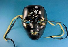 Porcelain Face Wall Mask, Handpainted, Black and Gold, White Flower Design, Mardi Gras Style Mask, Decorative Wall Hanging by MountainAireVintage on Etsy