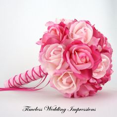 Bridal Bouquet Pink Real Touch Roses Silk Wedding Flowers Light Hot Pink