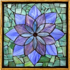 "Student Work - Framed Stained Glass Mosaic Lotus 12"" x 12"" created by Ellen in a Stained Glass Mosaic Flower Workshop with Artist Kasia Polkowska - View the list of locations and dates for Kasia's Workshops Here: http://kasiamosaicsclasses.blogspot.com/"