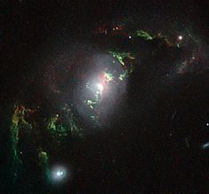 The NASA/ESA Hubble Space Telescope has imaged a set of enigmatic quasar ghosts — ethereal green objects which mark the graves of these objects that flickered to life and then faded. The eight unusual looped structures orbit their host galaxies and glow in a bright and eerie goblin-green hue. They offer new insights into the turbulent pasts of these galaxies. (kind of remind me of mermaids)