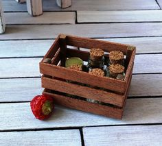 Dollhouse Miniature wooden crate handmade wooden by DewdropMinis Dollhouse Accessories, Garden Accessories, Wooden Crate Boxes, Dollhouse Furniture, Handmade Wooden, Dollhouse Miniatures, Crates, Basket, Pottery