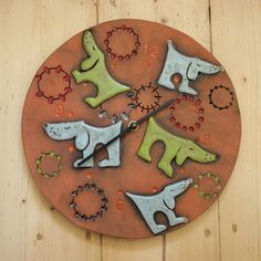 Keramické psí hodiny kulaté