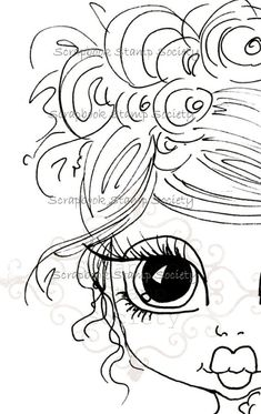 INSTANT DOWNLOAD Digital Digi Stamps Big Eye Big Head Dolls Digi  Pretty Little Girl By Sherri Baldy