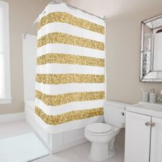 #glitter - #Gold Glitter And White Stripes Shower Curtain