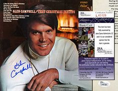 """GLEN CAMPBELL Hand Signed LP Cover - """"That Christmas Feel…"""