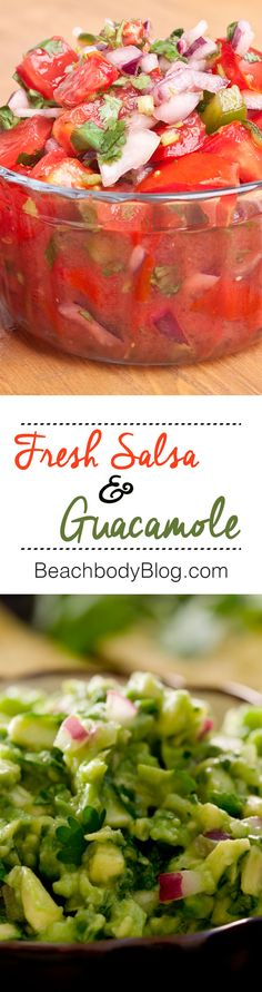 No party is complete without this dynamic dip duo of fresh salsa and guacamole! Pair them with homemade tortilla chips to wow your guests even more. #BigGame #HealthyRecipes #snacks #vegetarian #EatClean #SideDishes #dips