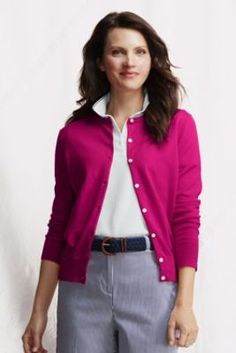 Women's Fine Gauge Supima Crew Cardigan from Lands' End