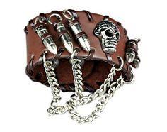 Gothic Bullets Skeleton Skull Punk Biker Wide Cuff Leather Bracelet