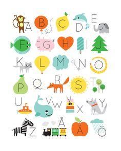 Skulle kunna bli fint som en quilt. Varje bokstav som en ruta med bild och bokstav.