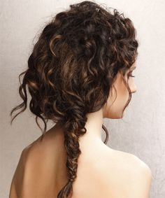 "Wedding hair ideas. Need to embrace my natural curls and long hair, but want ""something"" done with it that would look great with my twigs and leaves headpiece, and also still show off the back of my dress :)"