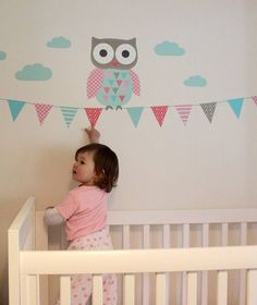 Absolutely adorable owl wall stickers in pastel tones and perfect for any nursery or playroom by The Little Blue Owl and available for purchase at Not on the High Street in the UK for 36 British pounds