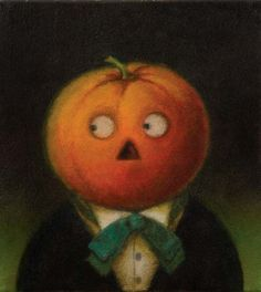 Pumpkin Head Man Halloween Portrait 2 via Etsy-curious portraits