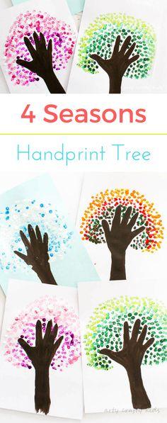 Four Season Handprint Tree Arty Crafty Kids Summer Art Projects, Toddler Art Projects, Projects For Kids, Kindergarten Art Projects, Preschool Art Activities, Handprint Art, Crafty Kids, Autumn Art, Art Classroom