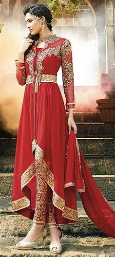 434066: Red and Maroon  color family  stitched Party Wear Salwar Kameez .