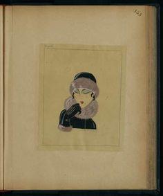 Chapeau, gants et col de fourrure, HIVER 1923 © Patrimoine Lanvin. #Lanvin125