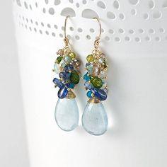 Aquamarine Earrings Dangle blue earrings featuring Aquamarine