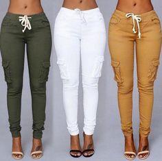 Buy 10 Styles 2017 Women Sport Pants Waist Drawstring Fashion Pocket Pants Plus Size Casual High Waist Long Pants Trousers at Wish - Shopping Made Fun Fashion Pants, Fashion Outfits, Womens Fashion, Style Fashion, Diy Fashion, Classy Fashion, Hipster Fashion, Fashion Edgy, Fashion Vintage