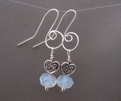 Translucent Crystal  and Celtic Heart Earrings by Banba on Etsy, $15.00
