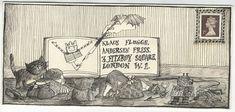 Illustrated envelope - Edward Gorey's letters to Klaus Flugge