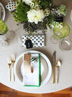 green + white holiday tabletop