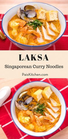 If you love seafood, and you love curry, and you love noodle soup.this is all three of those great things combined into one delicious bowl! Perfect meal for dinner. Laksa Soup Recipes, Ramen Noodle Recipes, Noodle Soup, Seafood Recipes, Gourmet Recipes, Healthy Recipes, Kitchen Recipes, Cooking Recipes, Easy Asian Recipes