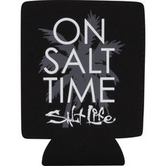 The Salt Life On Salt Time can holder is made from soft stretch neoprene fabric with sublimated logos. This can holder is collapsible which makes it perfect to