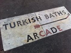 With the theme of baths I RTd, a Turkish Bath sign in the pavement in Bloomsbury, London    via @uberbabygraphic