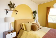 The 7 Best Bedroom Decorating Tips, According to Apartment Therapy Readers Bedroom Wall, Master Bedroom, Gold Bedroom, Bed Room, Bedroom Decorating Tips, Decorating Ideas, Cream Living Rooms, Home Upgrades, Geometric Wall