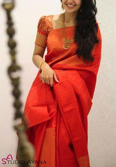 Wedding Silk Sarees Online Buy Kanchipuram Wedding Sarees Banarasi - House of Ayana - ceviz Indian Blouse Designs, Cotton Saree Blouse Designs, Wedding Saree Blouse Designs, Fancy Blouse Designs, Saree Blouse Patterns, Designer Blouse Patterns, Wedding Silk Saree, Blouse For Silk Saree, Indian Wedding Sarees