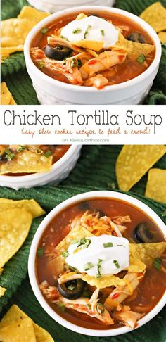 Slow Cooker Chicken Tortilla Soup is loaded with chicken, tomatoes, corn, black beans & olives in a delicious salsa verde base. Simple, hearty & DELICIOUS comfort food in your crock pot. on kleinworthco.com