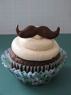 Chocolate-Guinness Cupcake with Coffee Buttercream and a Chocolate Moustache on top