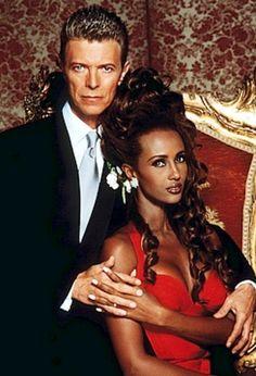 Iman & David Bowie on their wedding day 1992