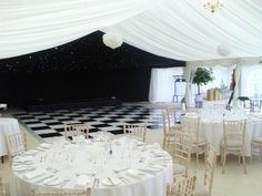 Amazing black and white event. Starlight lining. Back and white dancefloor.