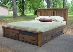 rustic platform  bed with storage | The Summit Storage Bed is a very functional platform style bed ...