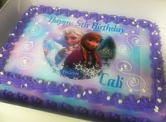 "Our version of a Frozen ""frozen"" Sheet Cake"