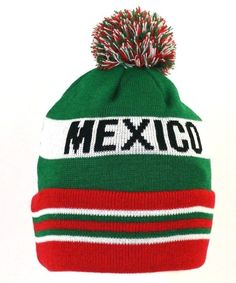 MEXICO flag color One size fit pom Beanie 4a0d87aef