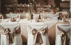 Linen Help: What material are the table cloths/chair bows? « Weddingbee Boards