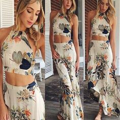 Hot Sale! Sexy Women Floral 2-Piece Set Halter Straps Crop Tops Long Maxi Skirt Free Shipping