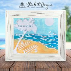 This beach scene personalized papercut with watercolor background this beach scene personalized papercut with watercolor background from steelcut designs is the perfect piece of voltagebd Images