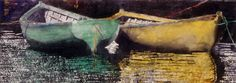 """naples yellow n viridian dories 14"""" x 30""""  micheal zarowsky watercolour on arches paper / private collection"""